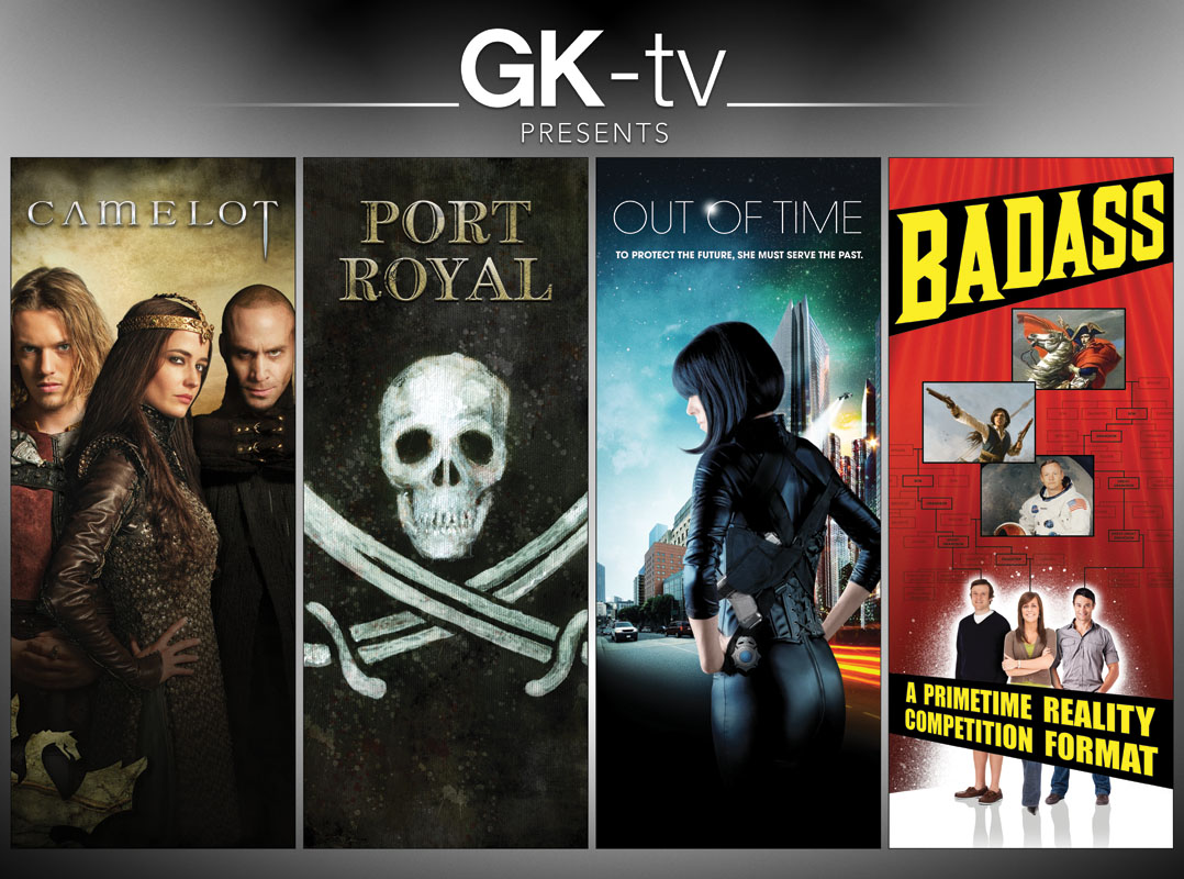 GK-tv Cannes Mipcom 2011, the wall: Camelot, Port Royal, Out of Time, Badass